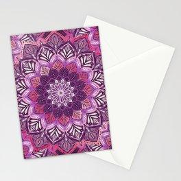 Boho Mandala in Deep Purple and Pink Stationery Cards