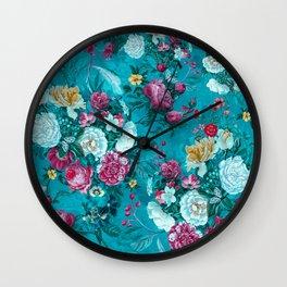 Blue summer garden Wall Clock