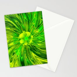 Abstract Lines Green Flower Stationery Cards