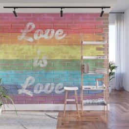LGBTQ+ Pride Flag Love is Love Distressed Brick Design Wall Mural