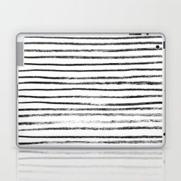Black Brush Lines on White Laptop & iPad Skin