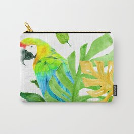 Parrot with Tropical Leaves Carry-All Pouch