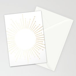 Sunburst Gold Copper Bronze on White Stationery Cards
