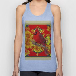 RED CARDINAL SUNFLOWERS ON CREAM ART Unisex Tank Top