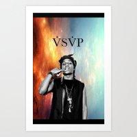 asap rocky Art Prints featuring Asap Rocky V.S.V.P by Christopher Leonetti