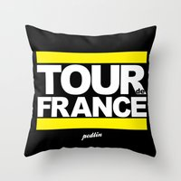 tour de france Throw Pillows featuring Tour de France by Pedlin