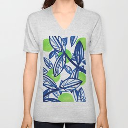 Blue and lime green abstract apple tree Unisex V-Neck
