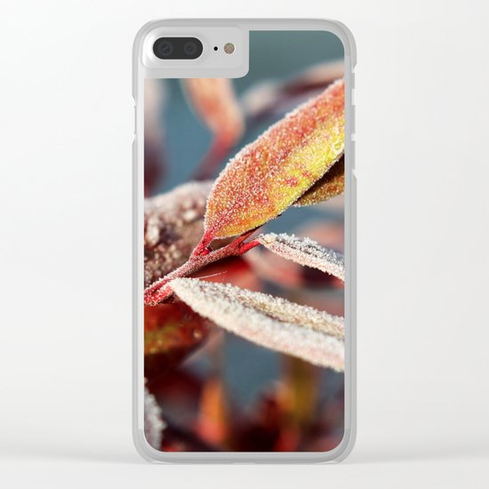 Winter leafs Clear iPhone Case