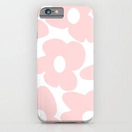 Large Baby Pink Retro Flowers on White Background #decor #society6 #buyart iPhone Case