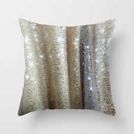 Champagne Glitters Throw Pillow