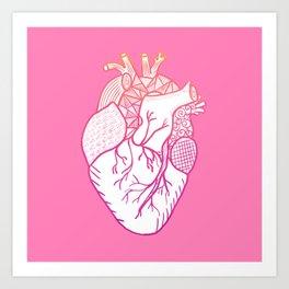 Designer Heart Pink Background Art Print