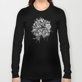 Panic with White Scribbles Long Sleeve T-shirt