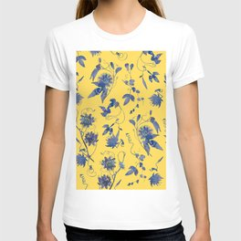 Elegant Blue Passion Flower on Mustard Yellow T-shirt