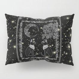 """Tarot """"The Moon"""" - silver- cat version Pillow Sham"""