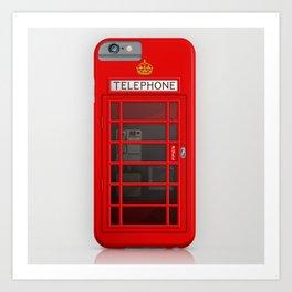 RED TELEPHONE BOX BOOTH PHONE BOX Art Print