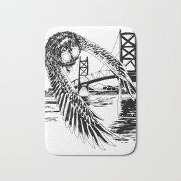 Mothman loves bridges Bath Mat
