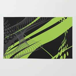 Green Black Abstract Future Technical Rug