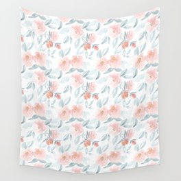 Soft Pink Watercolour Roses Wall Tapestry