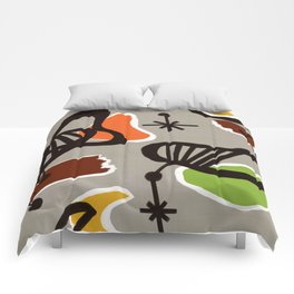 Mid Century Art Barkcloth Inspired Comforters