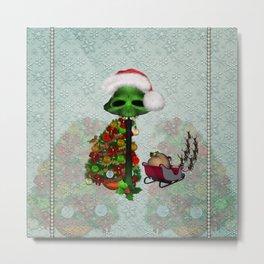 Christmas, funny mushroom with christmas hat Metal Print