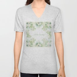Spring floral watercolor painting & Quote Unisex V-Neck