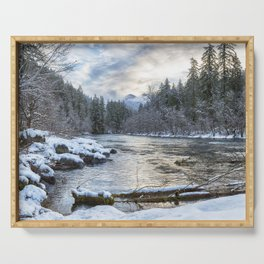 Morning on the McKenzie River Between Snowfalls Serving Tray