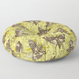 Death's-head hawkmoth chartreuse Floor Pillow