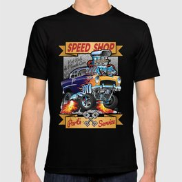 Speed Shop Hot Rod Muscle Car Parts and Service Vintage Cartoon Illustration T-shirt