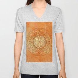 Watercolor Mandala Pattern Orange Unisex V-Neck