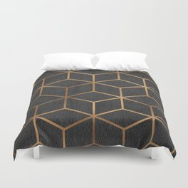 Charcoal and Gold - Geometric Textured Cube Design I Duvet Cover