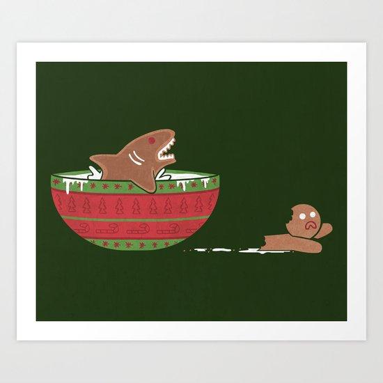 Gingerbread Jaws Art Print