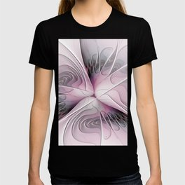 Fantasy Flower, Pink And Gray Fractal Art T-shirt
