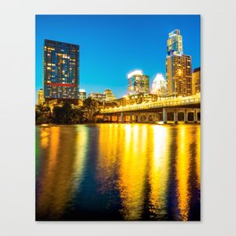 Austin Texas City Skyline Over The River at Twilight Canvas Print