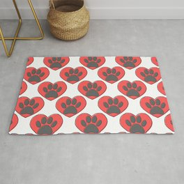 Puppy Paw Print In Red Heart Drawing Pattern Rug