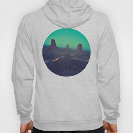 Mid Century Modern Round Circle Photo Graphic Design The Grand Canyon With Green Sunset Sky Hoody
