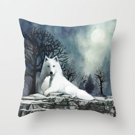Wolf Mother and Pup Throw Pillow