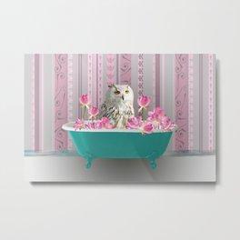 Grey Owl Turquoise Bathtub Lotus Flower Blossoms #owl #bathtub Metal Print