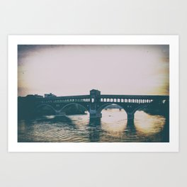 Beautiful view of Ponte Coperto in the center of Pavia Art Print