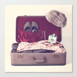 Vintage Journey Suitcase (Hers) (Retro and Vintage Still Life Photography)  Canvas Print