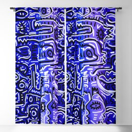 Blue Kiss Love Street Art Acrylic Posca Painting Blackout Curtain