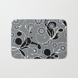 Black and White Floral Absract Bath Mat