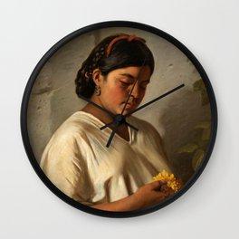 Indian Woman with Marigold by Felipe Santiago Gutiérrez Wall Clock