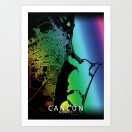 Cancún, Quintana Roo, Mexico, City, Map, Rainbow, Map, Art, Print Art Print