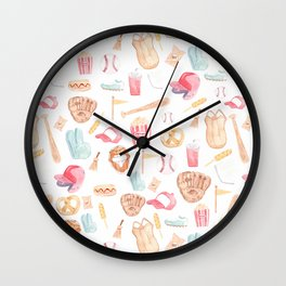 Watercolor Baseball Pattern Wall Clock