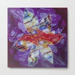 Bright Abstract Flower; Purple, Lavender and Maroon Background; Fluid Abstract 55 Metal Print