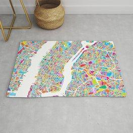 New York City Manhattan Colorful Map Rug