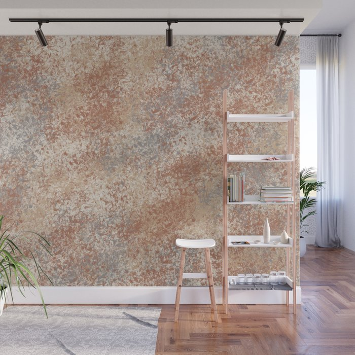 Cavern Clay SW 7701 and Abstract Distressed Chaotic Sponge Paint Pattern 2 Wall Mural