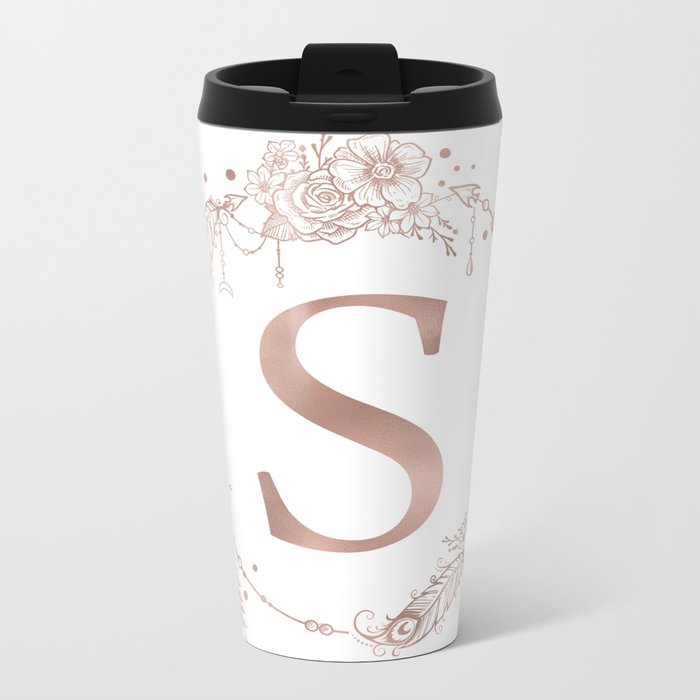 Letter S Rose Gold Pink Initial Monogram Metal Travel Mug