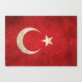 Old and Worn Distressed Vintage Flag of Turkey Canvas Print
