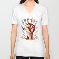 revolution V-neck T-shirts featuring Revolution by PsychoBudgie